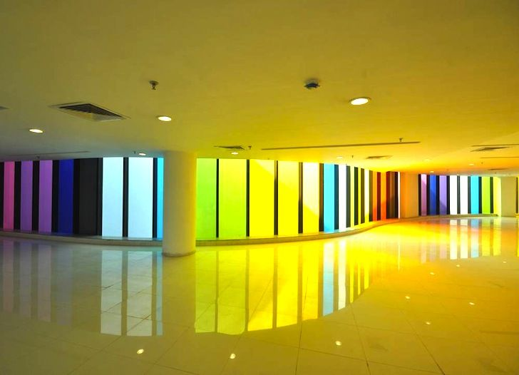 Adin Design S Rainbow Hued Glass Facade Adds A Bright Splash Of Color To Kolkata India Interior Design Institute Interior Design School Design