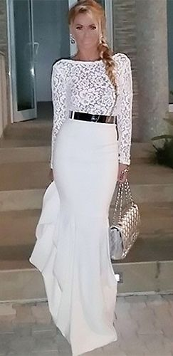 White long sleeve mermaid maxi dress