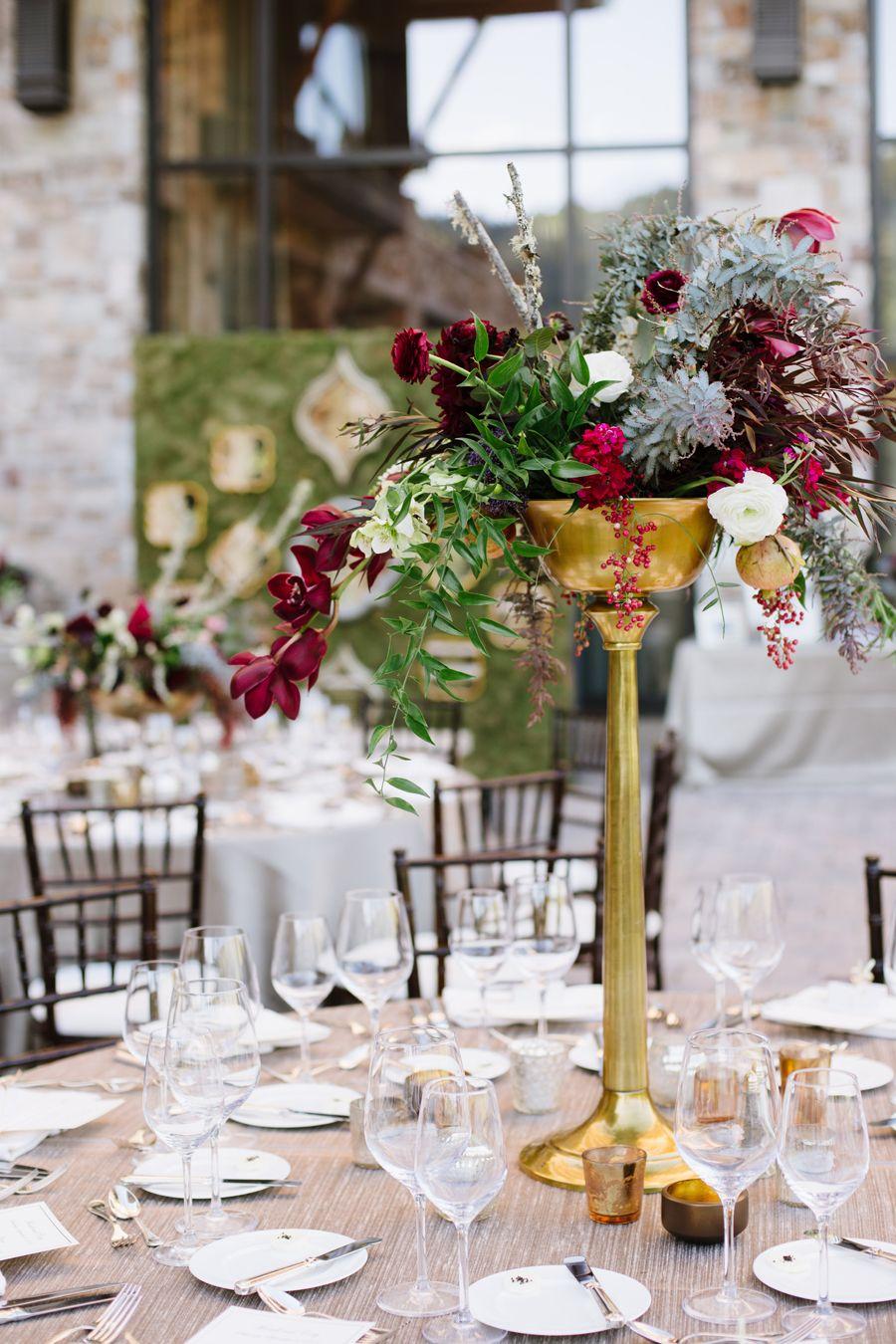 Burgundy and Gold Centerpiece Outdoor weddings Wedding