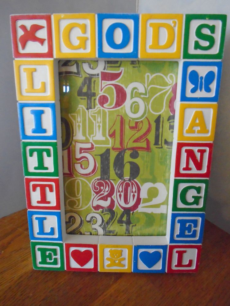 """BABY BLOCK, PICTURE FRAME, 5""""x 7"""" PICTURE, GOD'S LITTLE ANGEL, DOVE, HEARTS, VG"""