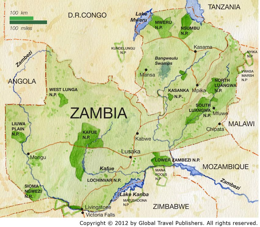Zambia is located on the continent of Africa It is surrounded by