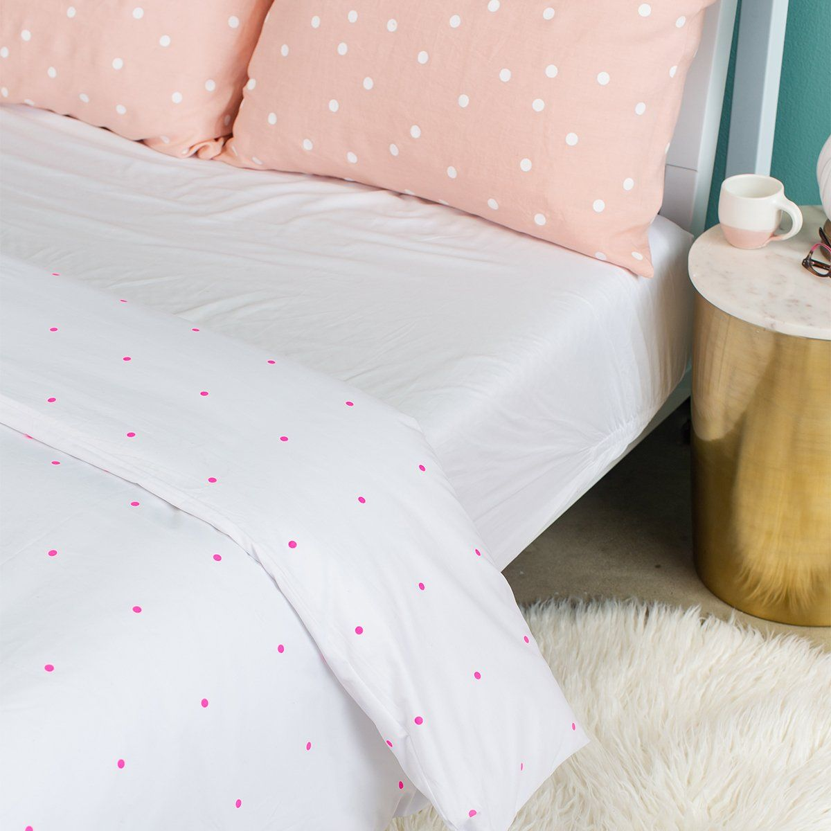 Pegboard Hot Pink Cotton Duvet Coverby Castle In 2019