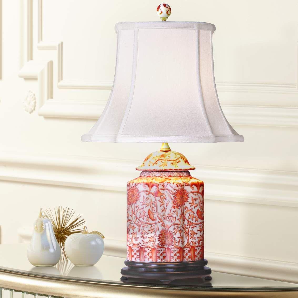 Coral Porcelain Scalloped Tea Jar Table Lamp G7009 Lamps Plus