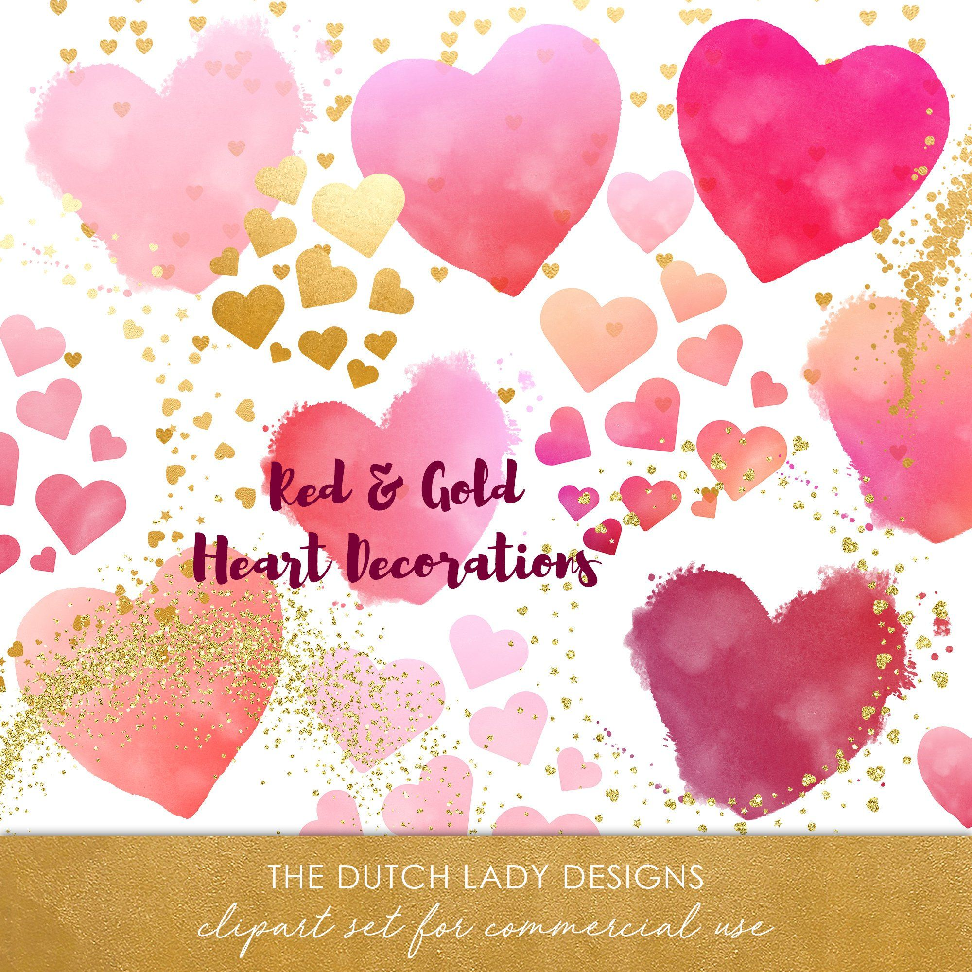 heart clipart valentine clipart love clipart wedding clipart playful hearts watercolor hearts golden decoration digital decoration golden sprinkles  [ 2000 x 2000 Pixel ]