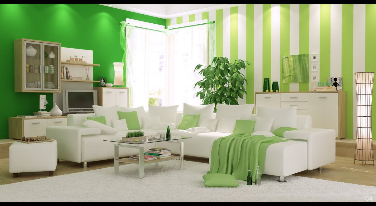 apartment. fresh green bedroom design with white comfortable