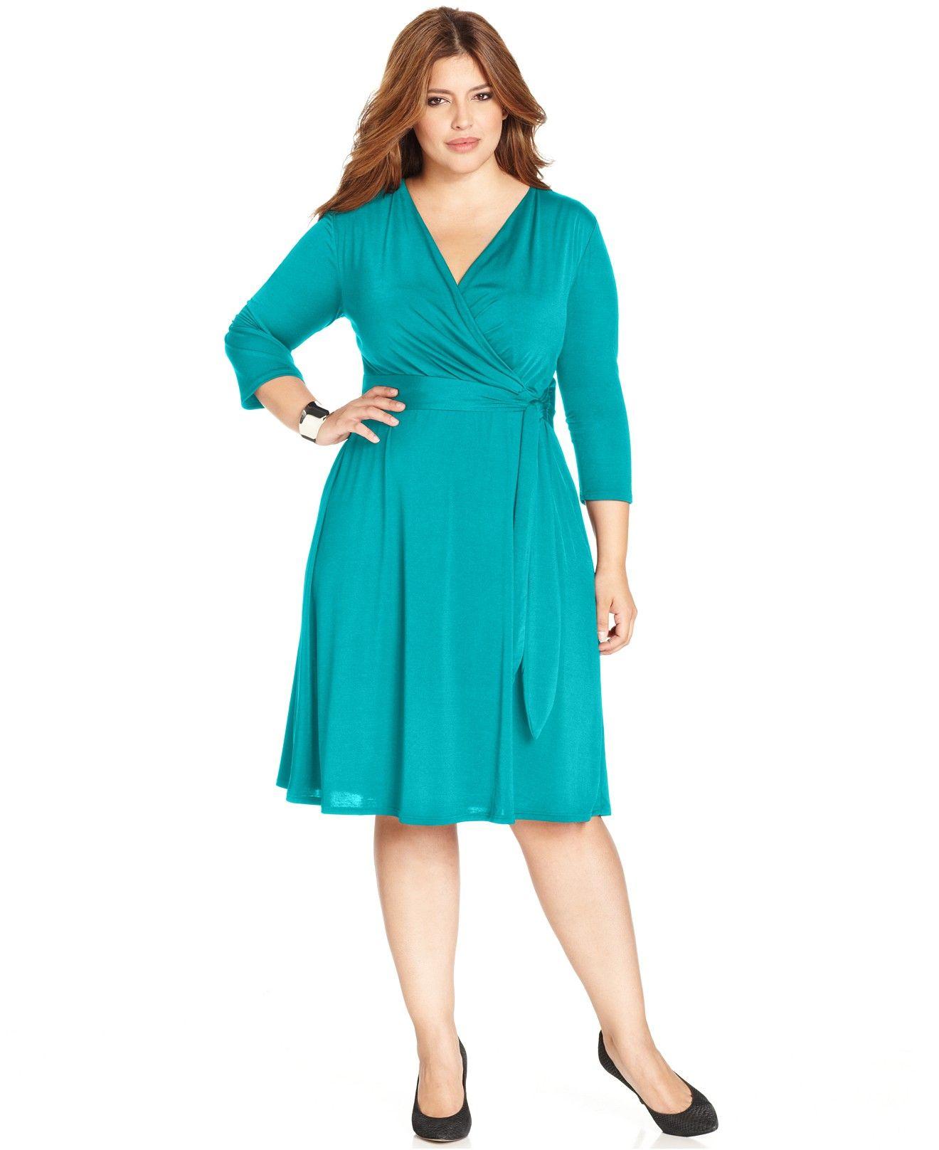 NY Collection Plus Size Faux-Wrap B-Slim Dress - Dresses - Plus ...