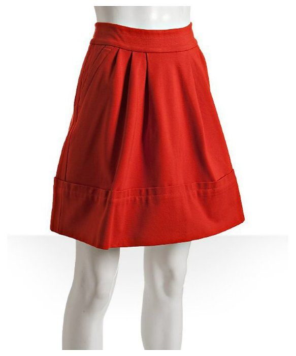 Marc by Marc Jacobs : ruby red knit pleated a-line skirt : style # 312356601