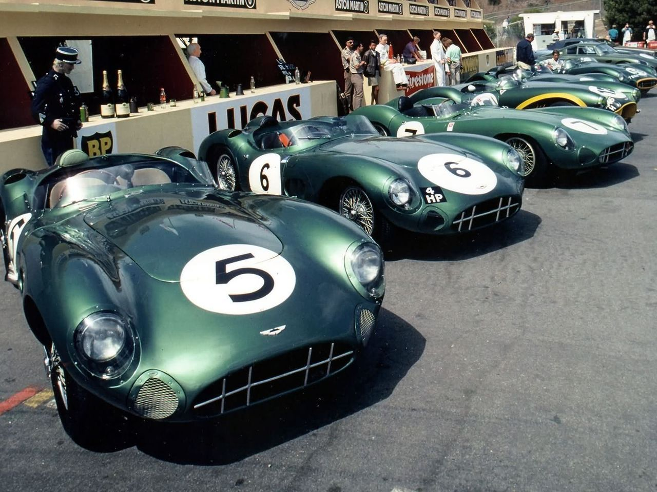 1959 .. Le Mans , entered by David Brown racing dept. Aston Martin DBR1 No. 5 driven by R.Salvadori / C.Shelby = winner .. No.6 , M.Trintingnat / P.Frere 2nd o/a .. No.7 DNF>accident .