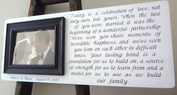 Wedding Frame Personalized Parents Of The Bride Groom Grandparents Gift 9 X 22 Custom Picture Anniversary Shower Quote Lyrics Poem Vows