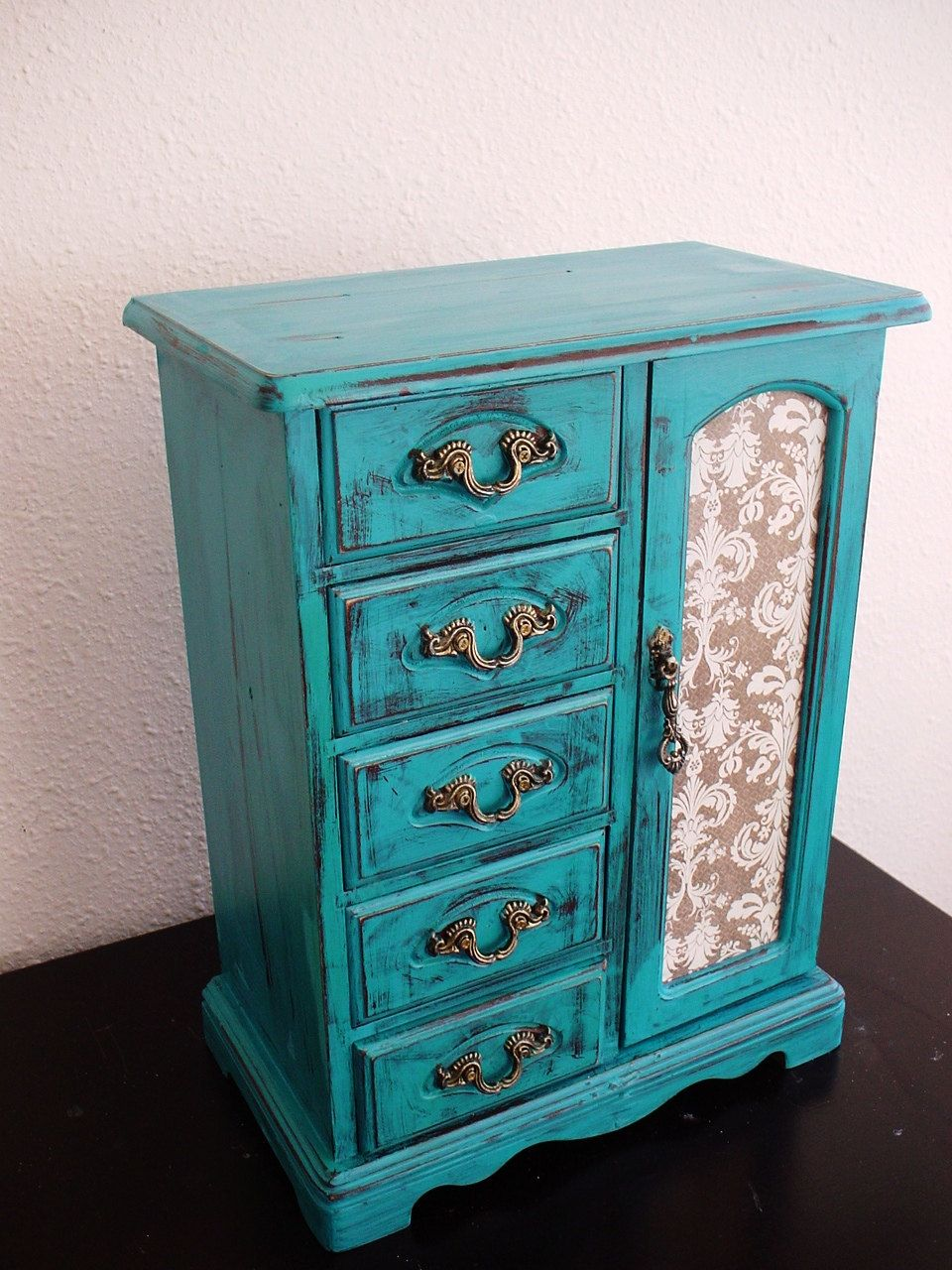 Beautiful Lake Blue Hand Painted Wooden Jewelry Box Etsy Painted Jewelry Boxes Wooden Jewelry Boxes Jewelry Box Makeover