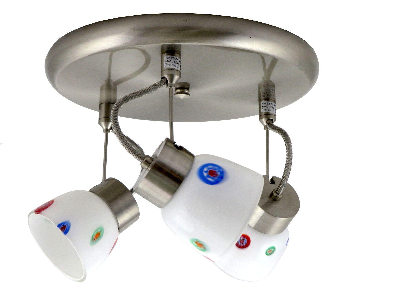 Plafoniere Con Lampadine : Plafoniera con faretti orientabili diffusore in vetro
