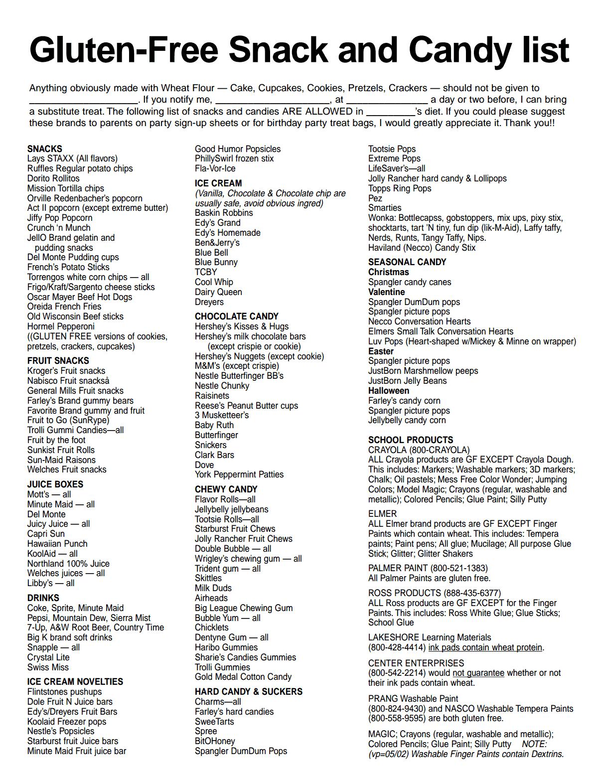 Gluten Free List From Stonebriar Community Church4