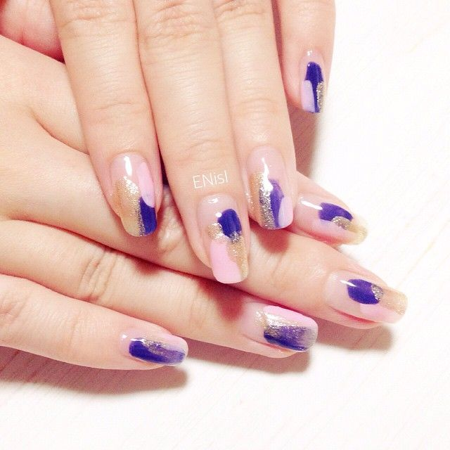 【塗りかけ ネイル】nail nails nailart polish pink