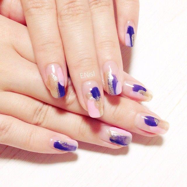 【塗りかけ ネイル】nail nails nailart polish pink