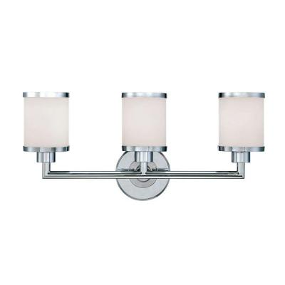 Millennium Lighting 3-Light Chrome Vanity Light with Etched White  Glass-223-CH