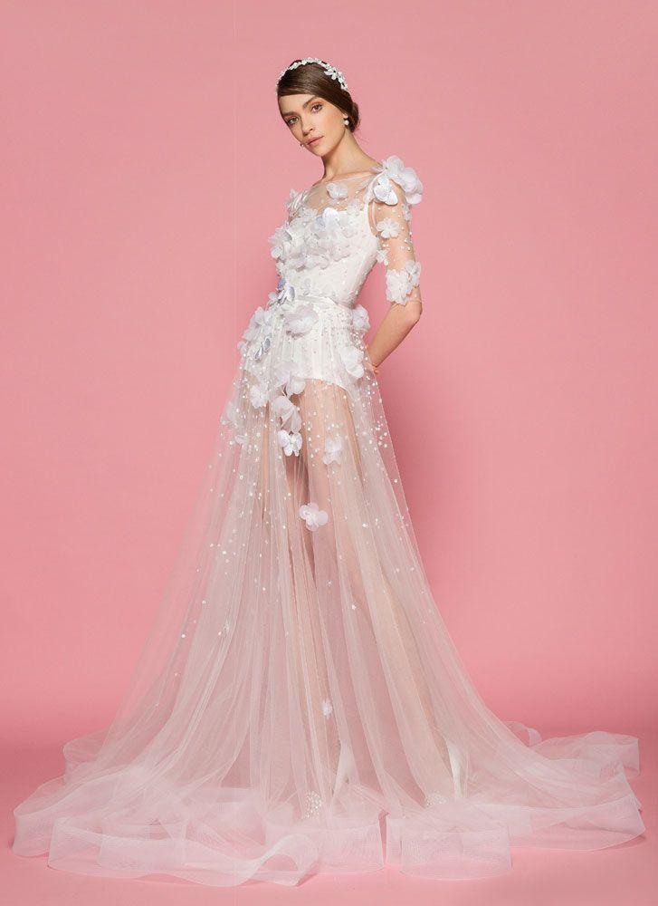 3d floral applique wedding dress long sleeves a line wedding dress,3d floral applique wedding dresses #weddingdress #springwedding