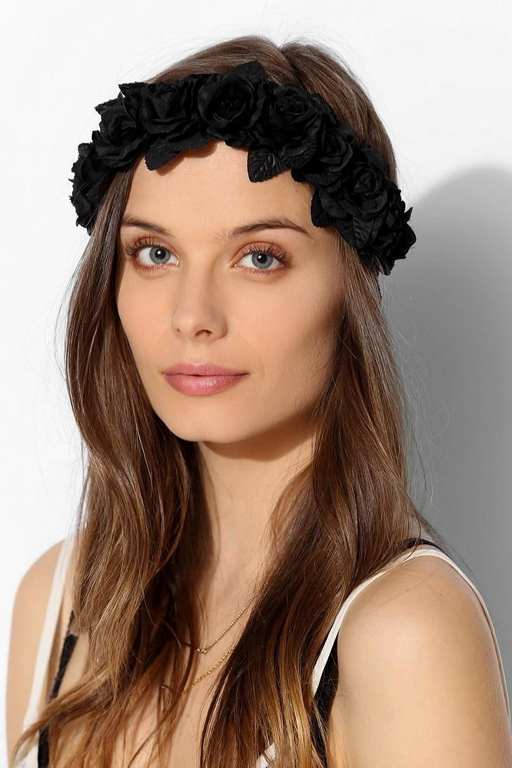 Black Flower Crown Headwrap Urbanoutfitters Accessorize