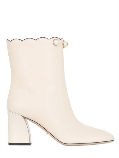 GUCCI 75Mm Willow Leather Pull-On Ankle Boots, Off White. #gucci #shoes #boots