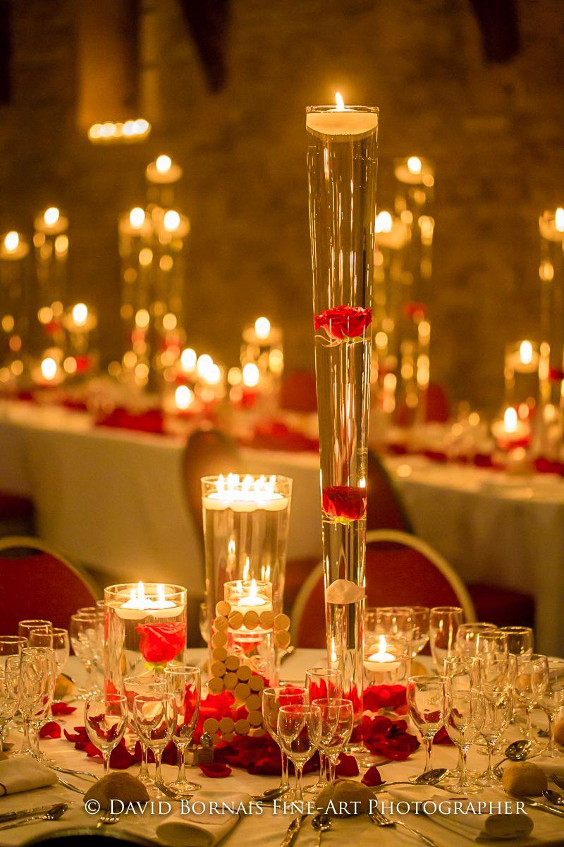 Centre de table mariage - Décoration rouge - numéro de table en ...