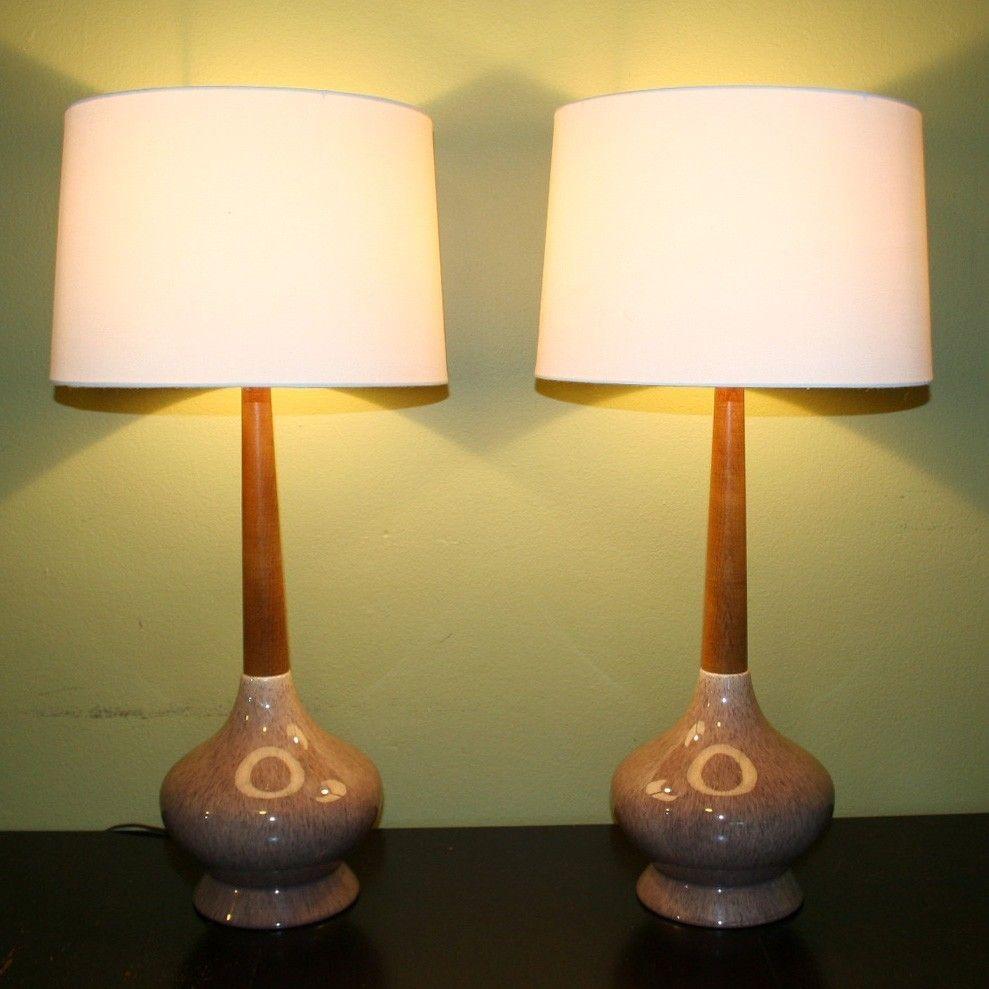 Vtg Mid Century Table Lamp Pair Of 2 Retro Ceramic Base Wooden