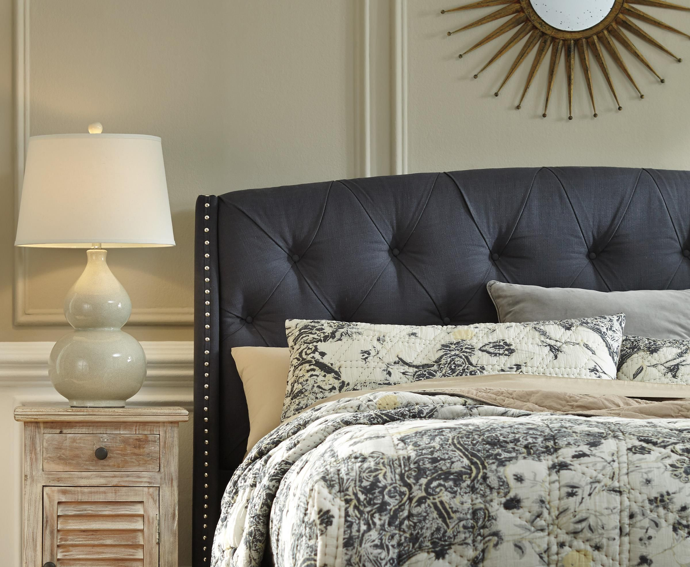check out 0fed6 45da2 King/California King Upholstered Headboard in Dark Gray with ...