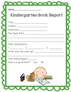 kindergarten book report includes title author illustrator setting character and