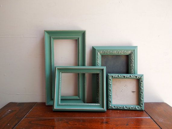 Small Ornate Vintage Wall Frame Set, Open Gallery Wall Frames in Sea Green Aqua Chalk Paint with Gold Gilt on Etsy, $50.00