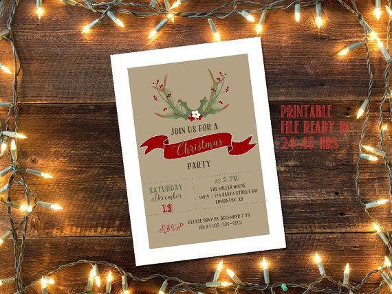 Printable Rustic Christmas Party invitation door glassslipperdesigns