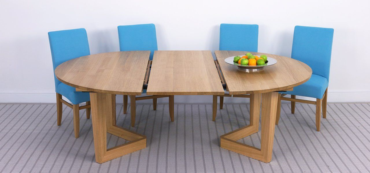 Brunel Large Round Extending Table In Solid Oak Solid Walnut