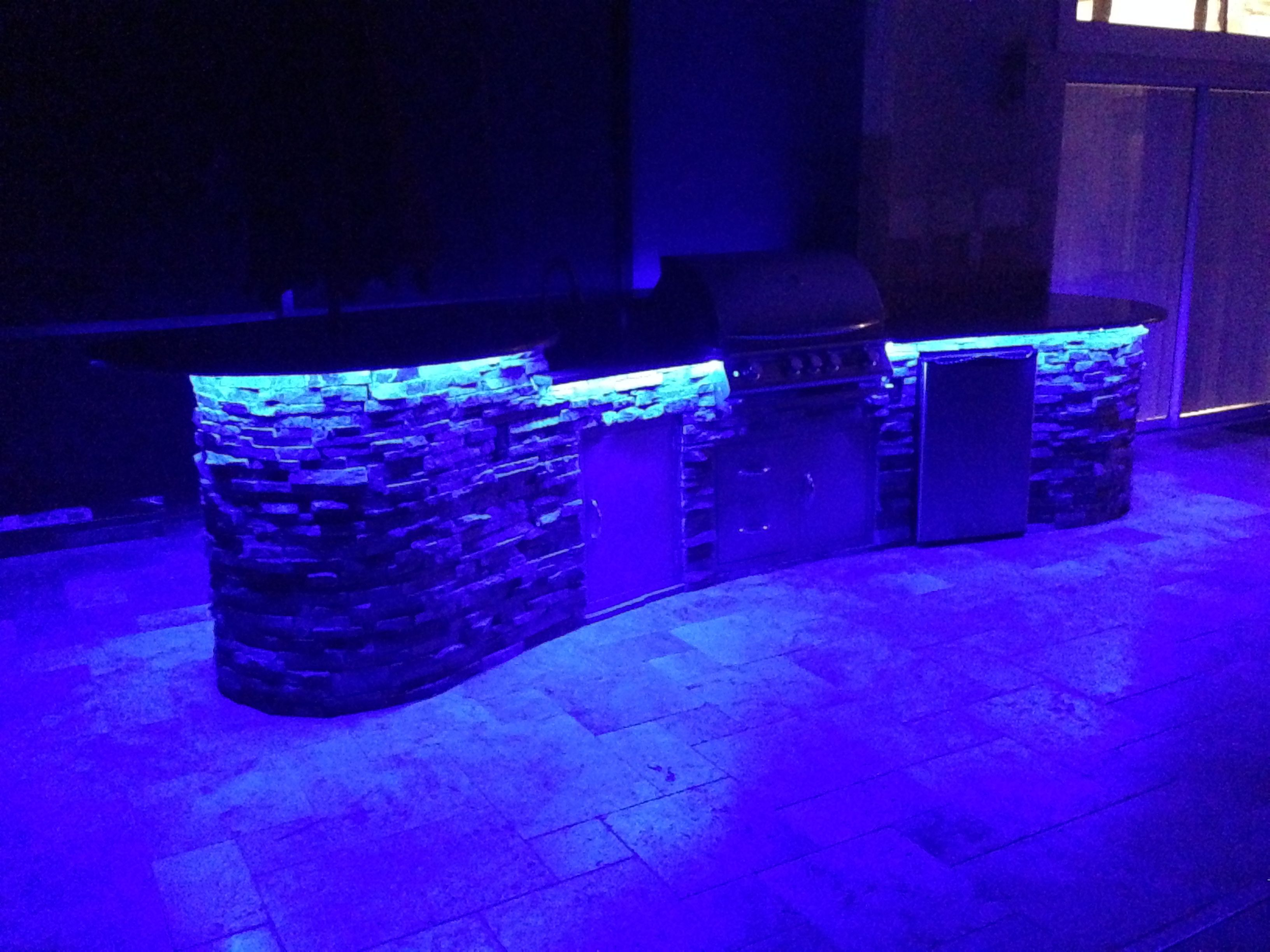 Led Accent Lighting Under Bar Top In Outdoor Kitchen The