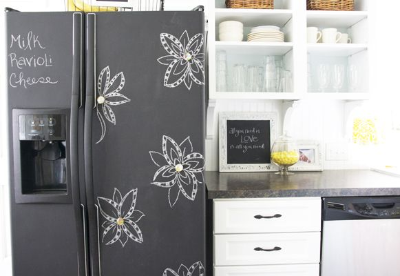 Use chalkboard paint to add character to an old fridge.