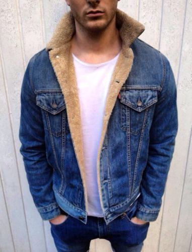 Mens-VINTAGE-Levis-Denim-Sherpa-Shearling-Borg-Fur-Lined-Jacket ...