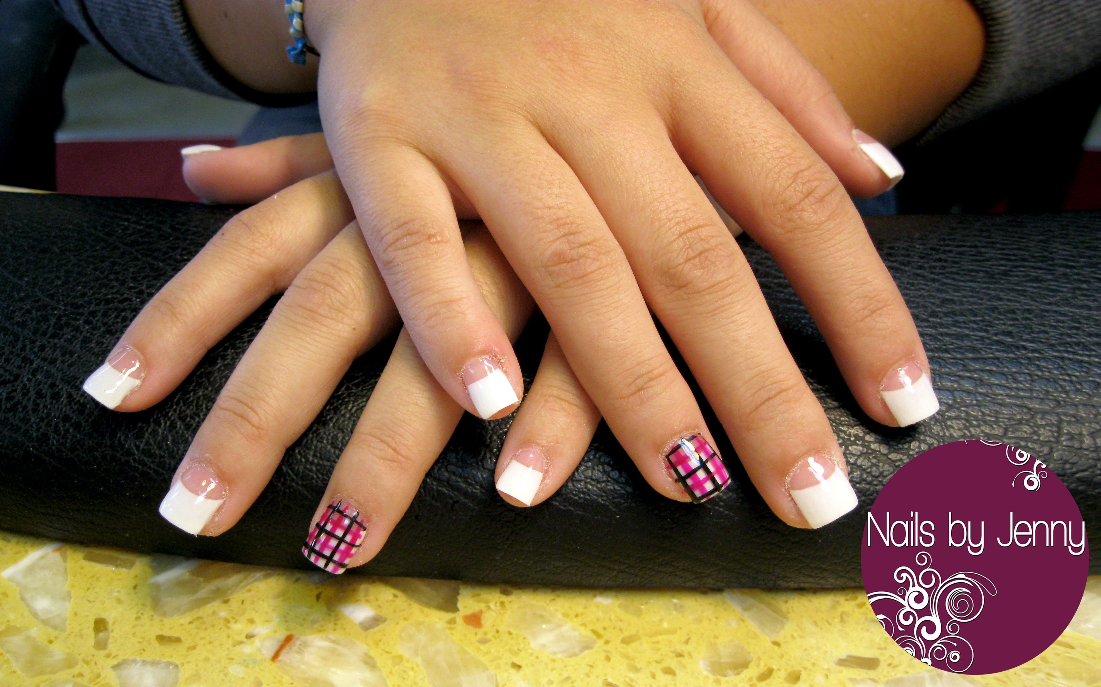 Pink and White Acrylic on a nail-biter with Plaid Accent Nail ...