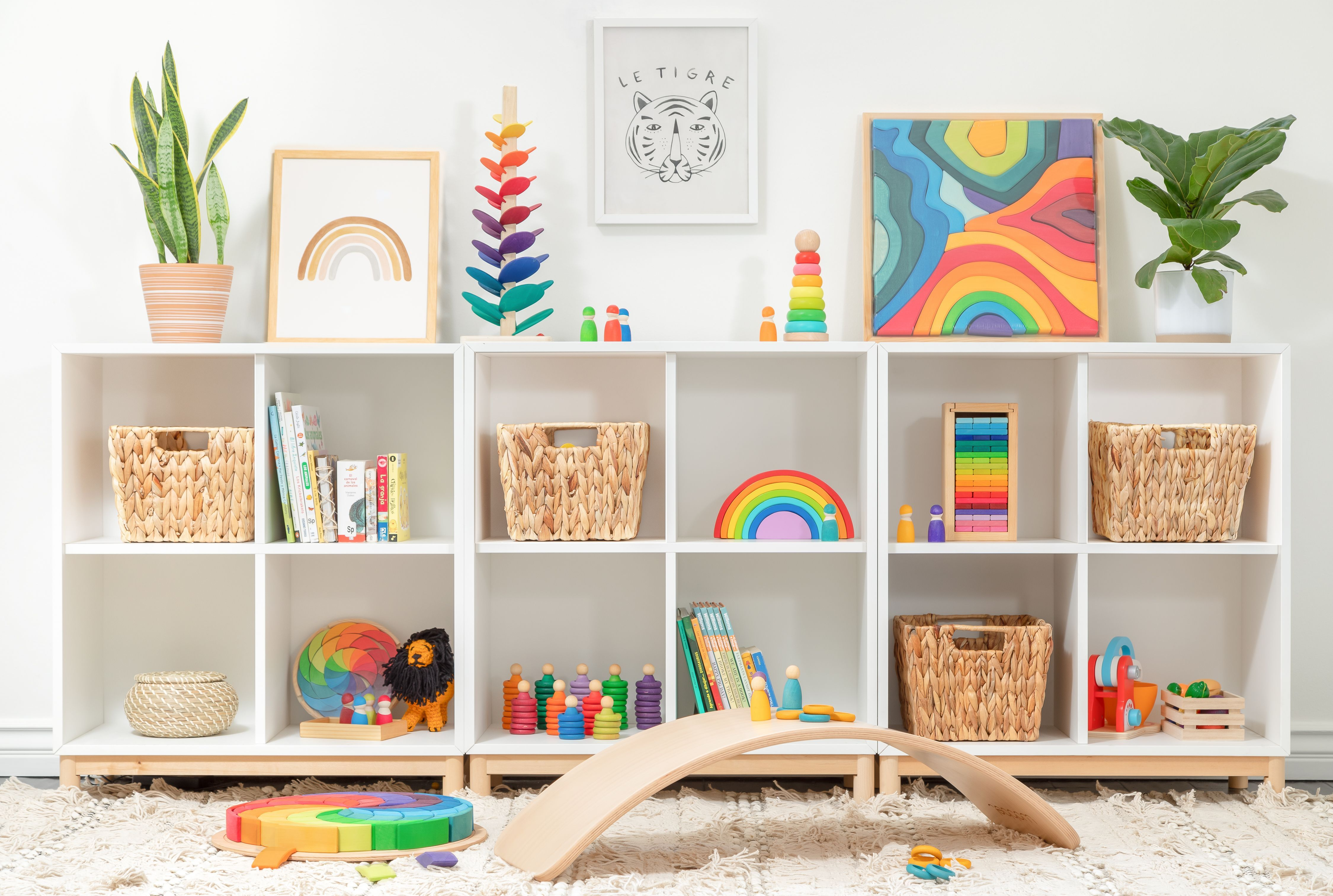 So excited to share the little play wall of wonderful wood toys we curated for a client in Sherman Oaks, CA. Home Preschool design project making use of Montessori inspired wood toys. @dillandolidesign #montessoristyle #preschooldesign #woodentoys #playroom #educational #grimm39s #grimmtoys #products #kidsproducts #luluandgeorgia #ikea #kidfriendly #rainbow