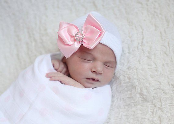 SALE!!! Satin Bow with Rhinestone newborn hospital hat by Infanteenie  Beenie with a pink white baby e6714c8a0b54