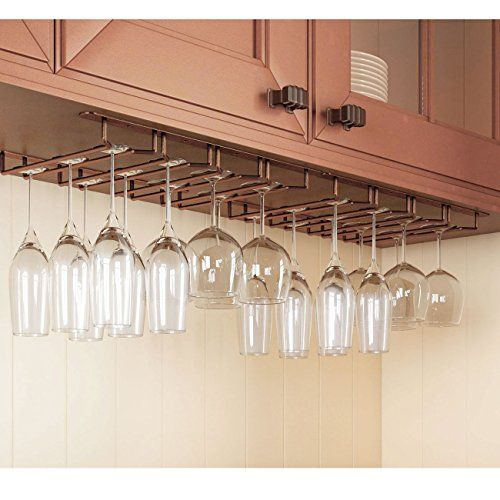 Rack And Hook Stemware Glass Rack Wine Glass Hanger Under Cabinet Storage Bar Or Kitchen Oil Rubbed Hanging Wine Glass Rack Wine Glass Rack Wine Glass Storage