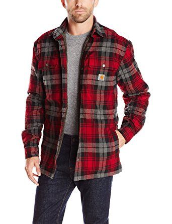 Carhartt Men's Hubbard Sherpa Lined Shirt Jacket, Dark Crimson, X ...