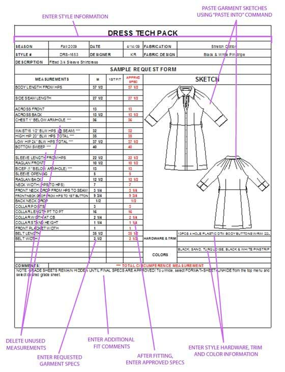 Garment Specification Sheet - Google Search | Military | Pinterest