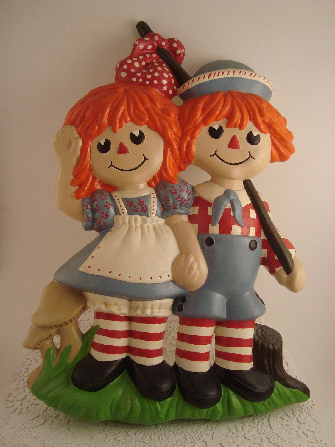 Raggedy Ann And Andy Vintage Ceramic Wall Hanging Nursery