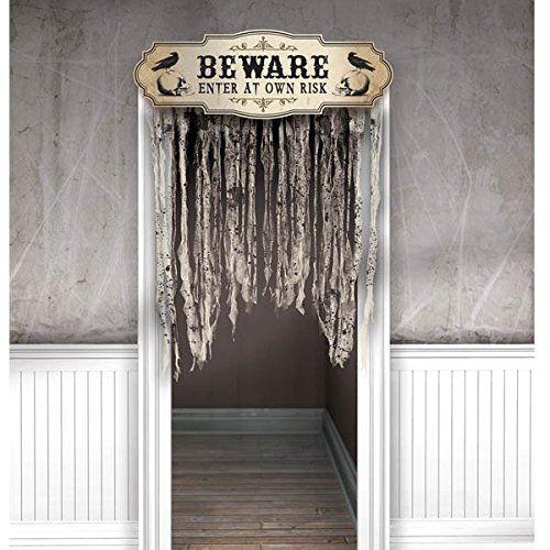 Scary Door Decoration Bones Doorway Cover Hanging Gauze Skeleton - scary door decorations for halloween