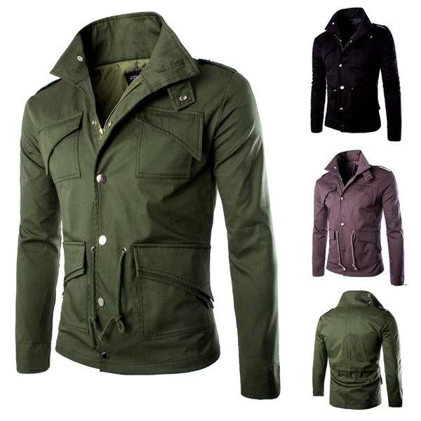 Men's Military Style Stand Collar Winter Jacket Slim Fit Fashion Coat at Banggood