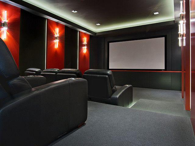 Media room sala de cine en casa casas pinterest - Sala de cine en casa ...