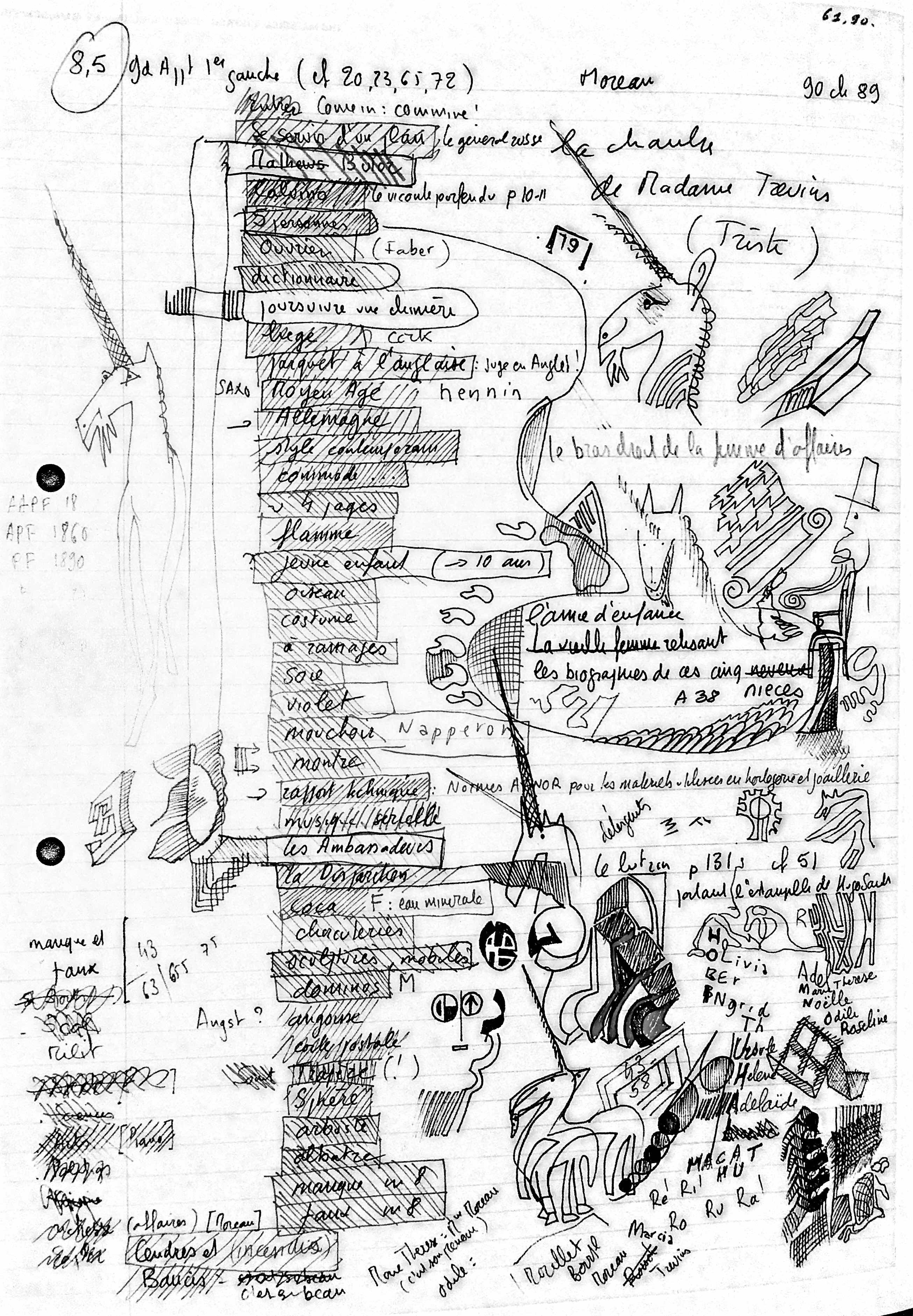 """""""Life, A User's Manual"""" page from Chapter 89. Georges Perec. Bibliothèque  Nationale de France"""