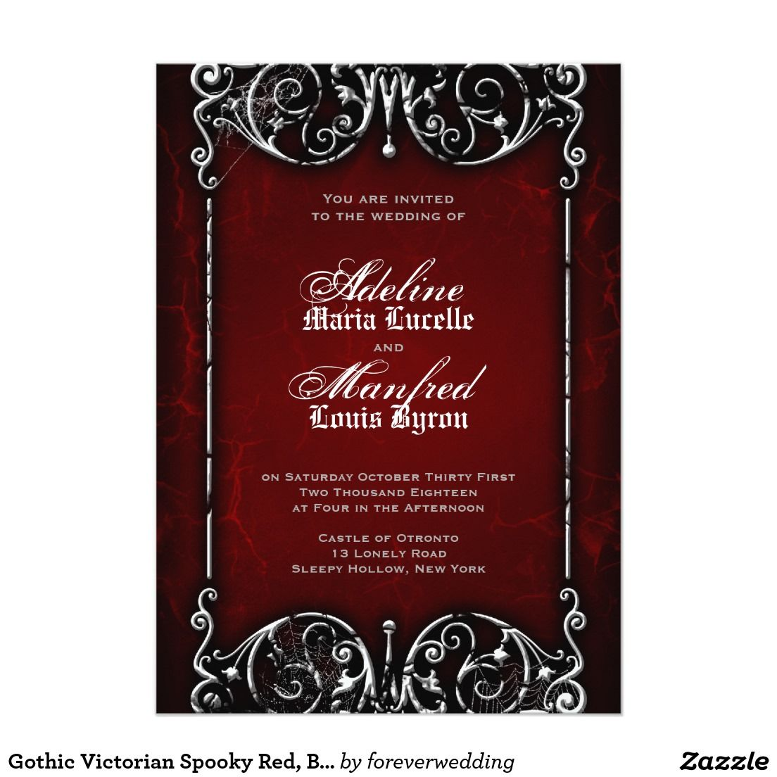 Gothic Victorian Spooky Red, Black & White Wedding Invitation ...