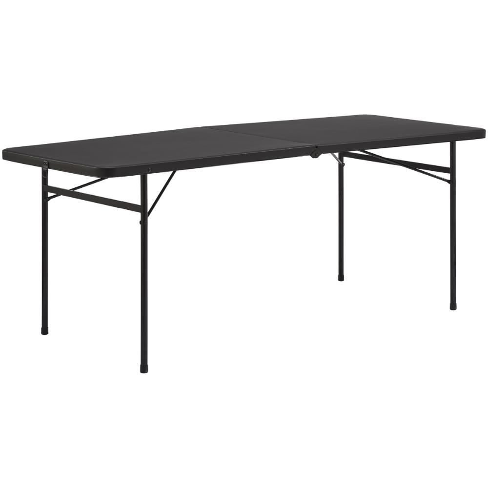 Mainstays 6 Foot Bi Fold Plastic Folding Table Black Walmart Com In 2020 Folding Table Furniture Half Table