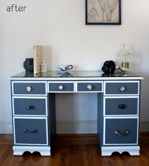 Before After Ikea Dresser Redo Painted Desk Design Sponge Desk Redo Repainted Desk Painted Desk