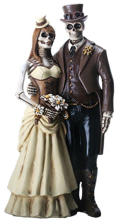 Love Never Dies Steampunk Skeleton Wedding Cake Topper | Wedding ...
