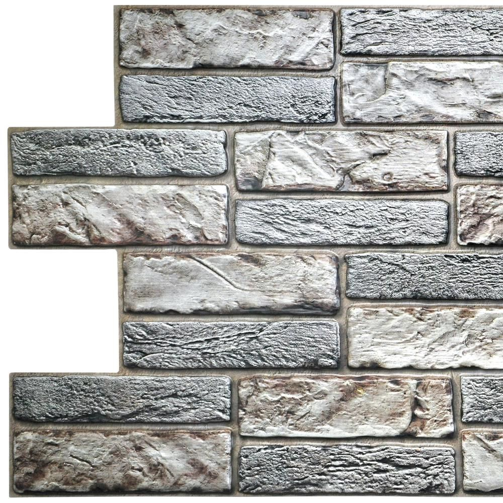 Faux Brick Wall Panels From Home Depot: Dundee Deco 3D Falkirk Retro 20/1000 In. X 38 In. X 19 In