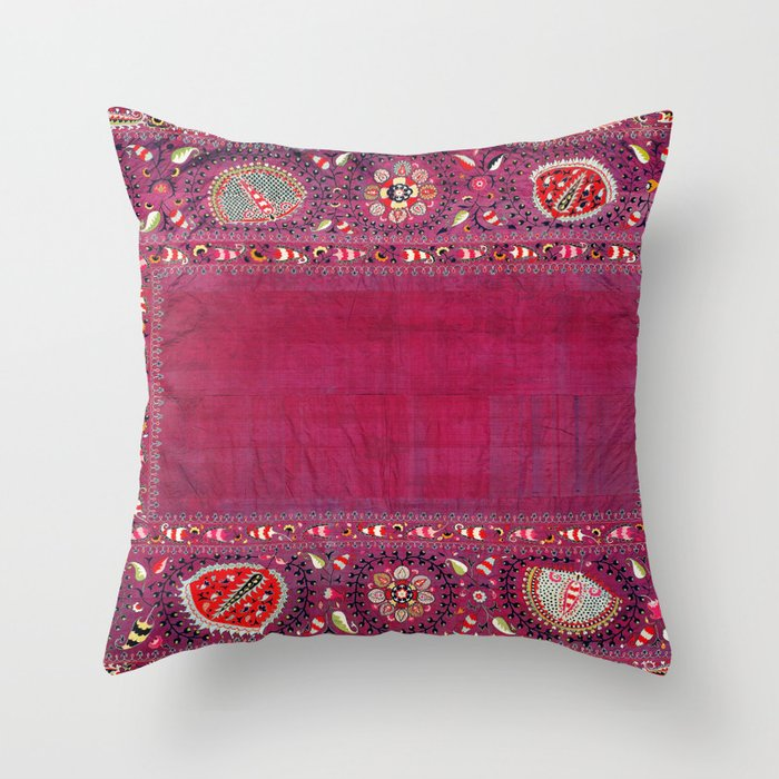 Shakhrisyabz Southwest Uzbekistan Suzani Embroidery Print Throw Pillow