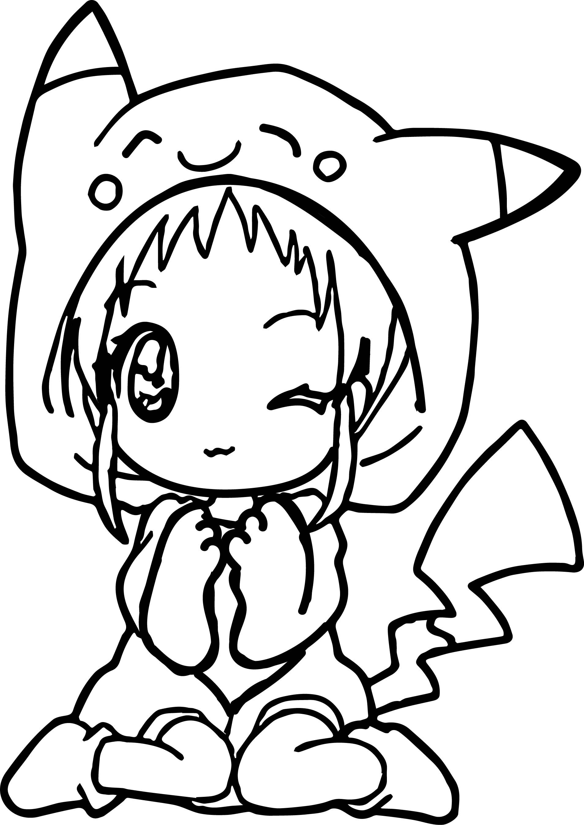 Anime Girl Pikachu Dress Coloring Page Wecoloringpage At Color Pages